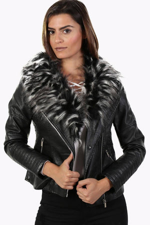 Faux Leather Biker Jacket With Faux Fur Collar in Black 0