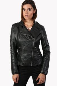 Faux Leather Biker Jacket With Faux Fur Collar in Black 1