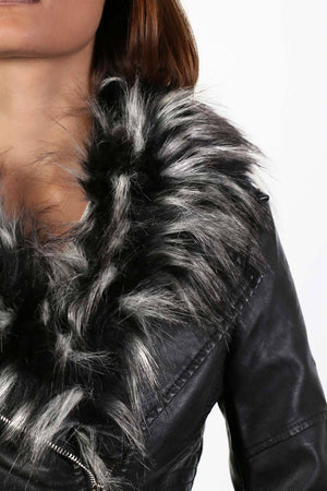 Faux Leather Biker Jacket With Faux Fur Collar in Black 2