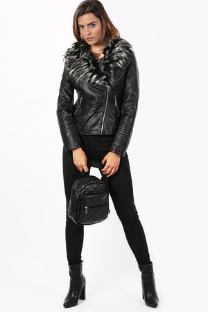 Faux Leather Biker Jacket With Faux Fur Collar in Black 3