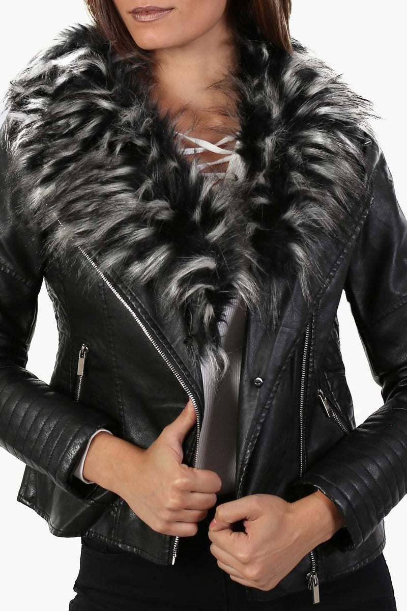 Faux Leather Biker Jacket With Faux Fur Collar in Black 4