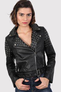 Eyelet Detail Faux Leather Biker Jacket in Black 1