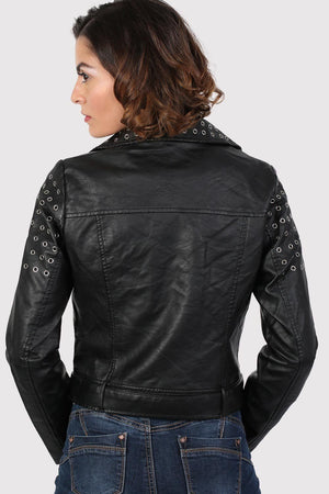 Eyelet Detail Faux Leather Biker Jacket in Black 2