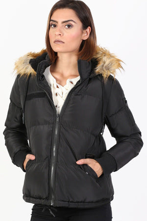 Faux Fur Trim Hooded Padded Jacket in Black 0