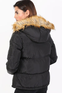 Faux Fur Trim Hooded Padded Jacket in Black 1