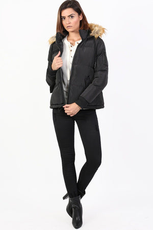 Faux Fur Trim Hooded Padded Jacket in Black 2