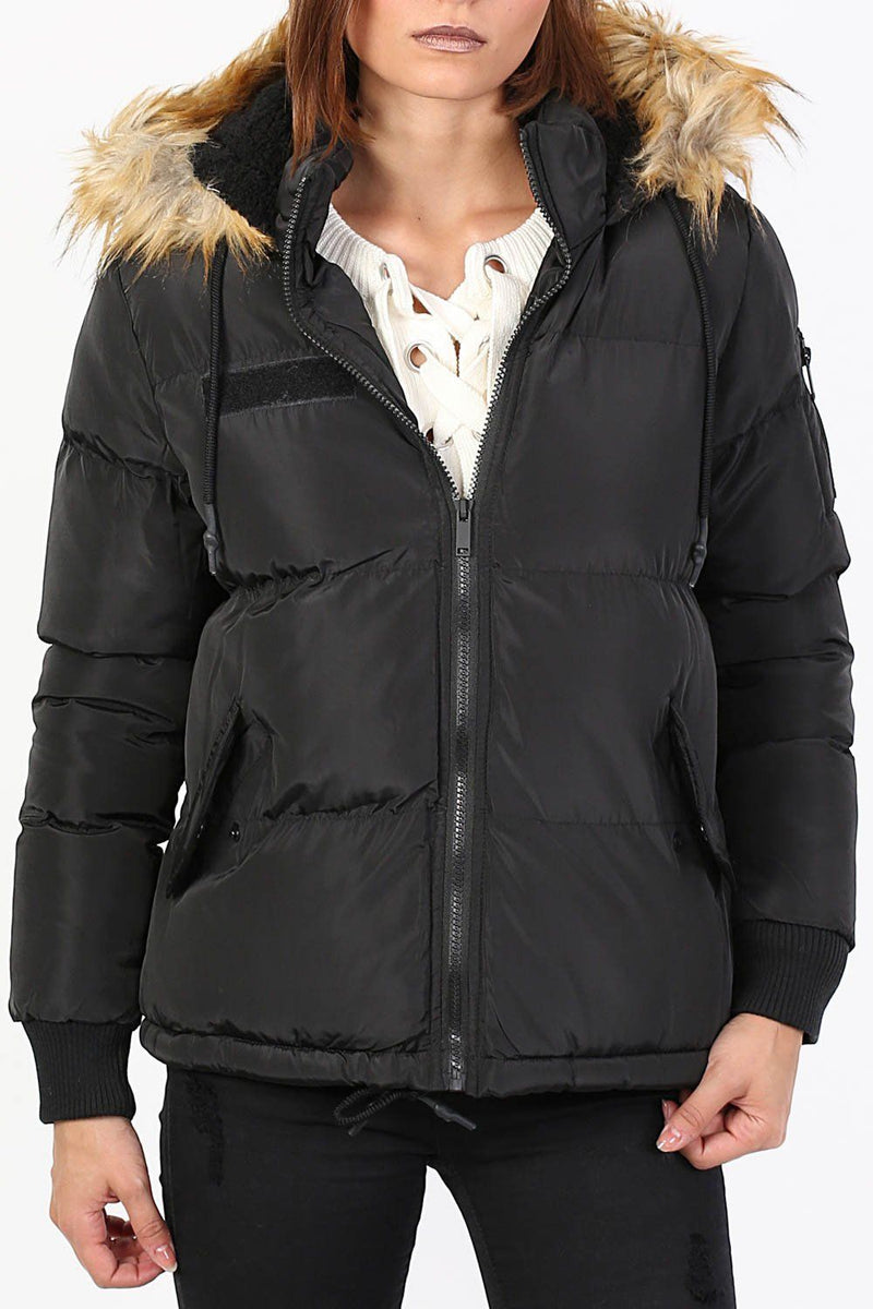Faux Fur Trim Hooded Padded Jacket in Black 3