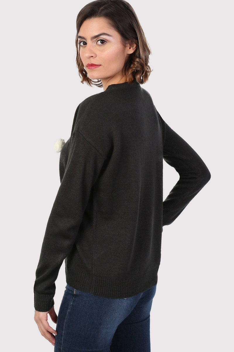 Christmas Robin Pom Pom Jumper in Black 1