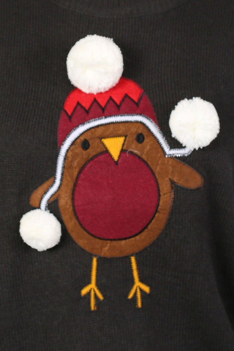 Christmas Robin Pom Pom Jumper in Black 2