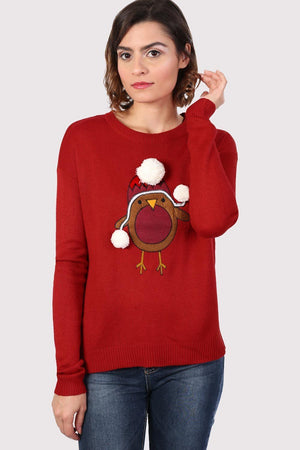 Christmas Robin Pom Pom Jumper in Red 0