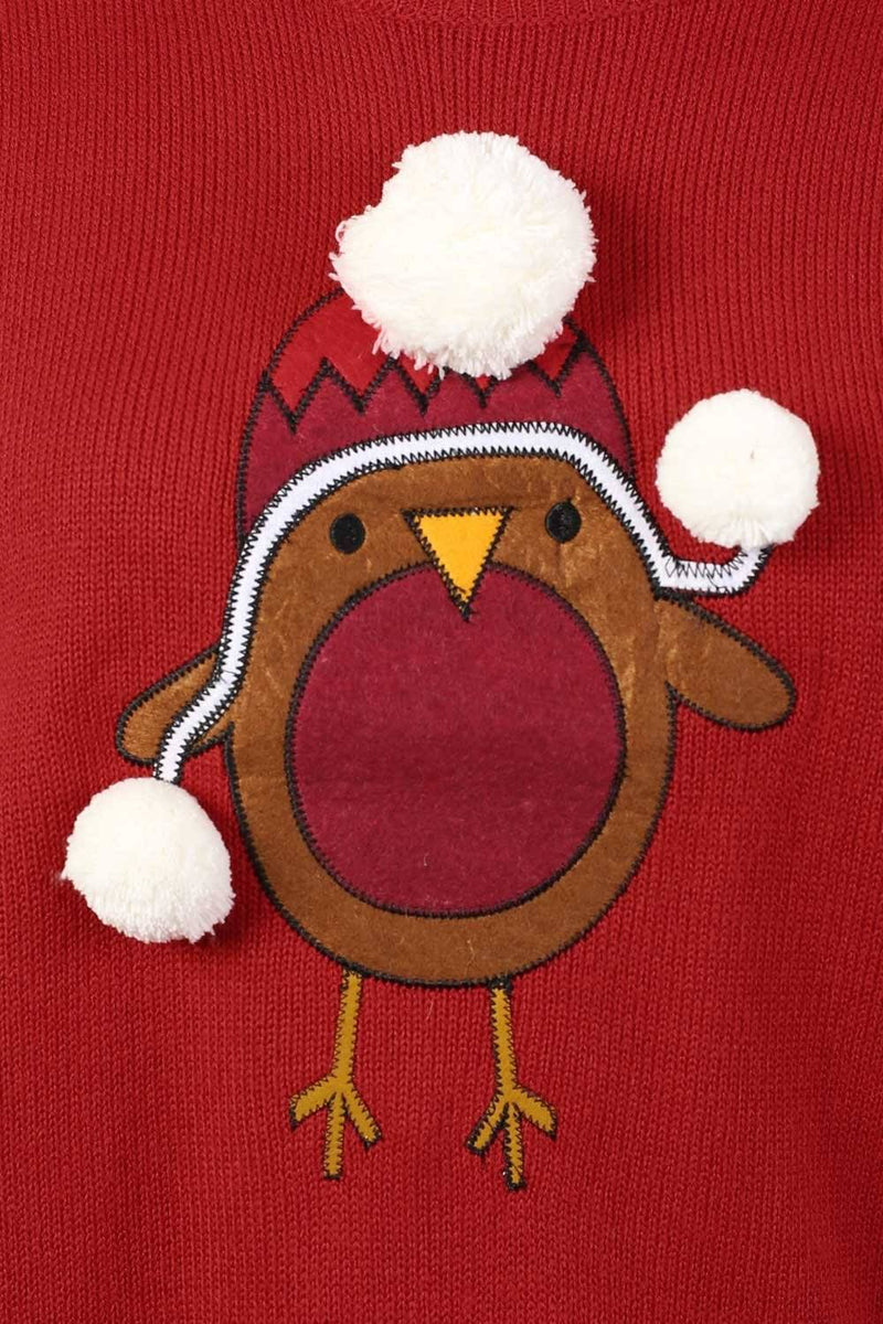 Christmas Robin Pom Pom Jumper in Red 1