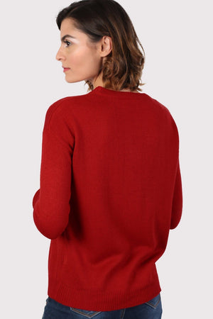 Christmas Robin Pom Pom Jumper in Red 2