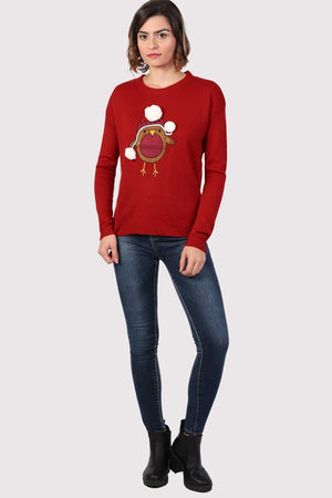 Christmas Robin Pom Pom Jumper in Red 3