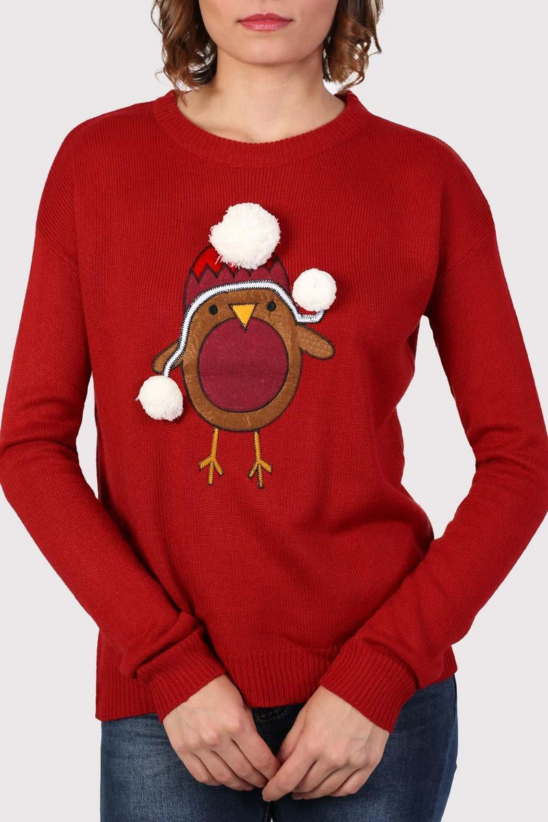 Christmas Robin Pom Pom Jumper in Red 4
