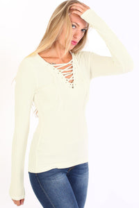 Plain Fine Rib Long Sleeve Lace Up Front Top in Cream 1