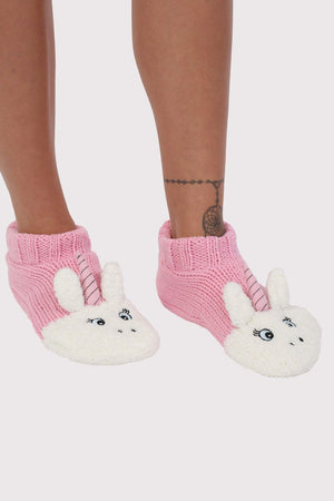 Unicorn Novelty Christmas Slipper Socks in Pale Pink 0