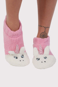 Unicorn Novelty Christmas Slipper Socks in Pale Pink 1