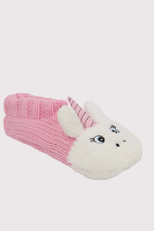 Unicorn Novelty Christmas Slipper Socks in Pale Pink 2