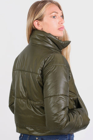 Cropped Puffer Jacket in Khaki Green 2