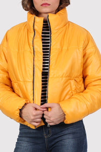 Cropped Puffer Jacket in Mustard Yellow 3