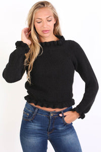 Frill Neck Long Sleeve Knitted Jumper in Black 0
