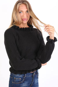 Frill Neck Long Sleeve Knitted Jumper in Black 1