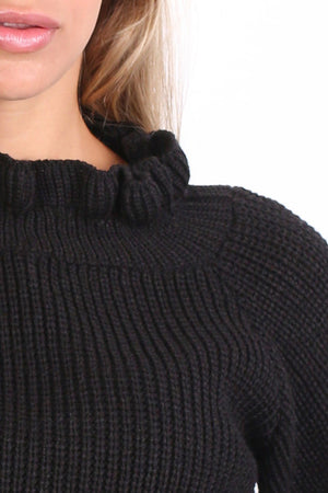 Frill Neck Long Sleeve Knitted Jumper in Black 2