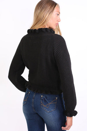 Frill Neck Long Sleeve Knitted Jumper in Black 3