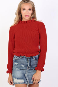 Frill Neck Long Sleeve Knitted Jumper in Red 0