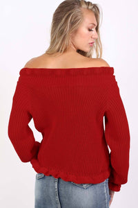 Frill Neck Long Sleeve Knitted Jumper in Red 2