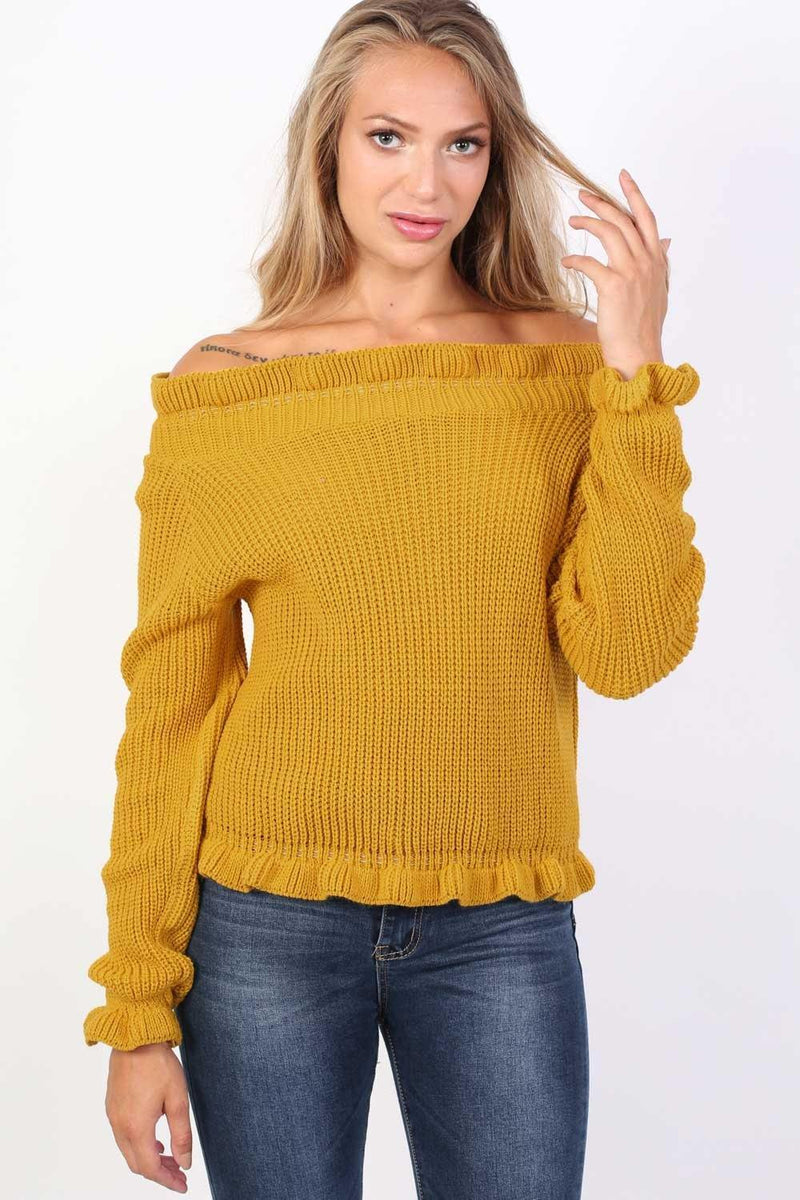 Frill Neck Long Sleeve Knitted Jumper in Mustard Yellow 0