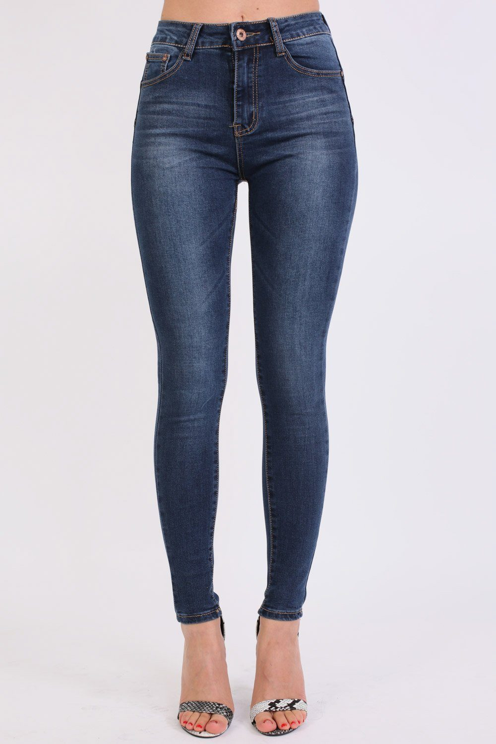 High Waisted Skinny Jeans in Dark Denim 0