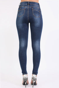 High Waisted Skinny Jeans in Dark Denim 4
