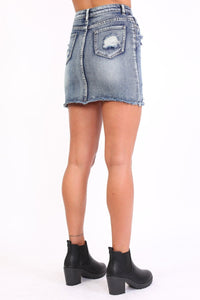 Frayed Hem Ripped Denim Mini Skirt in Denim Blue 2