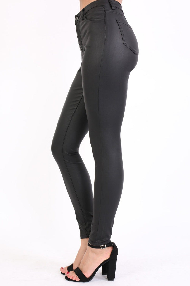 Faux Leather Jean Style Stretchy Skinny Trousers in Black 1