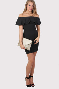 Deep Frill Bardot Bodycon Mini Dress in Black 3
