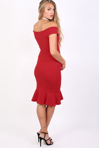 Bardot Frill Hem Bodycon Midi Dress in Red 2
