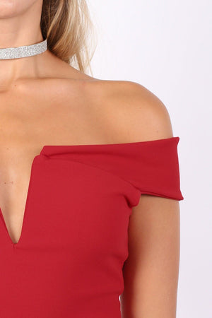 Bardot Frill Hem Bodycon Midi Dress in Red 3