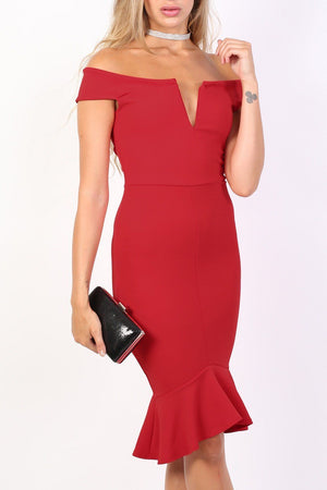 Bardot Frill Hem Bodycon Midi Dress in Red 4
