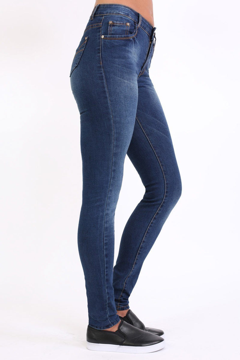 Sandblast Effect Skinny Jeans in Dark Denim 1