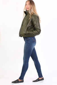 Sandblast Effect Skinny Jeans in Dark Denim 2