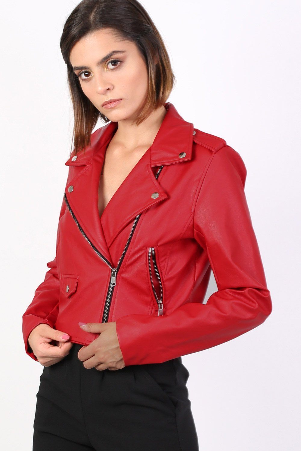 Faux Leather Biker Jacket in Red 0