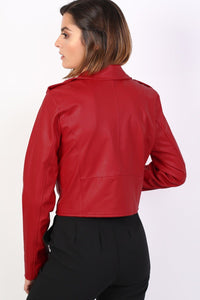 Faux Leather Biker Jacket in Red 1