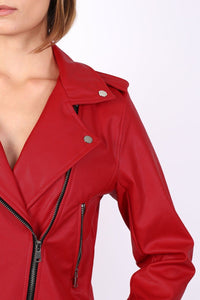 Faux Leather Biker Jacket in Red 2