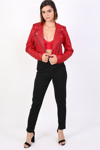 Faux Leather Biker Jacket in Red 3