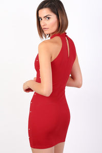 Pearl Detail Halter Neck Bodycon Mini Dress in Red 1