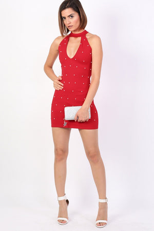 Pearl Detail Halter Neck Bodycon Mini Dress in Red 3