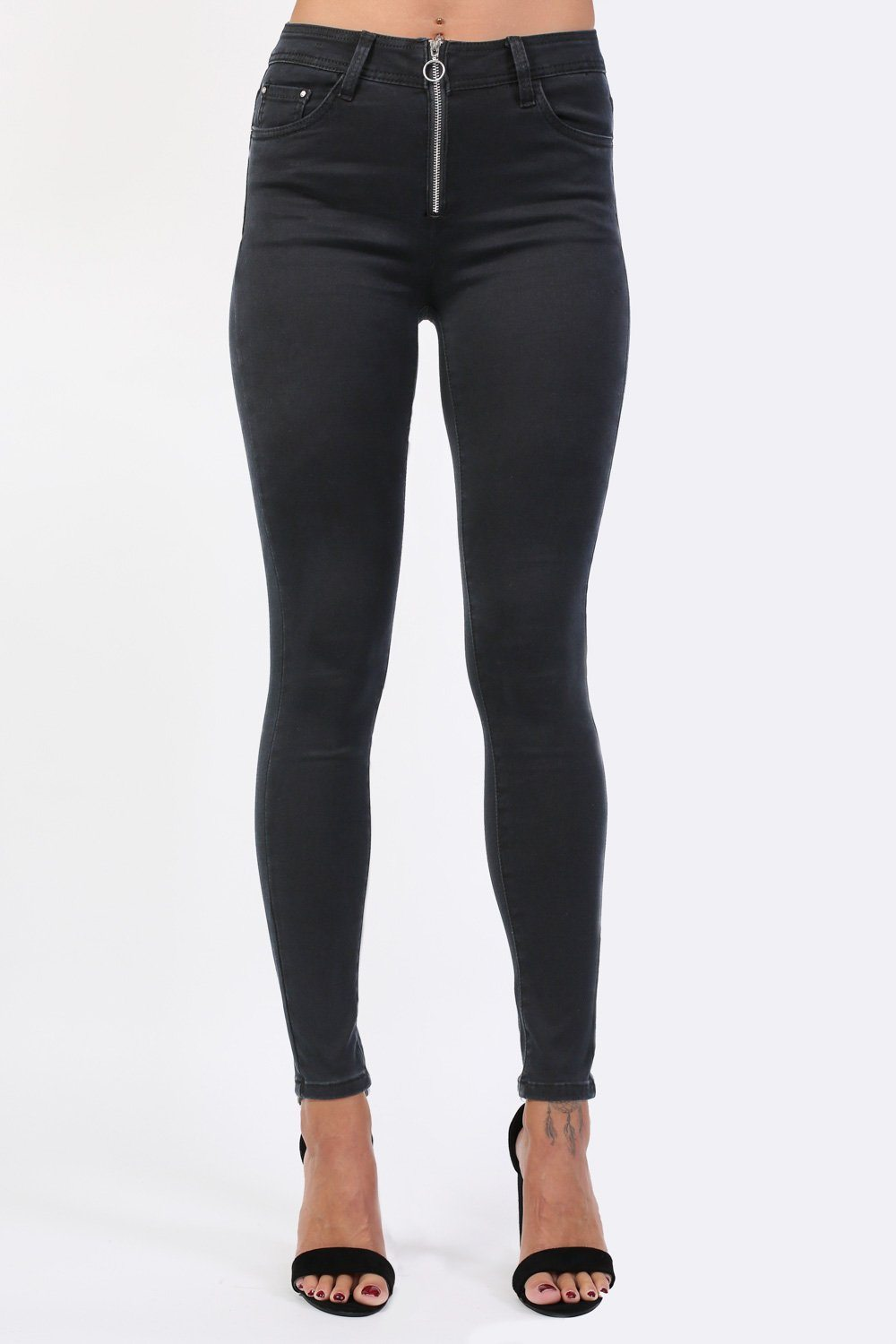 Plain Exposed Zip Skinny Jeans in Black 0