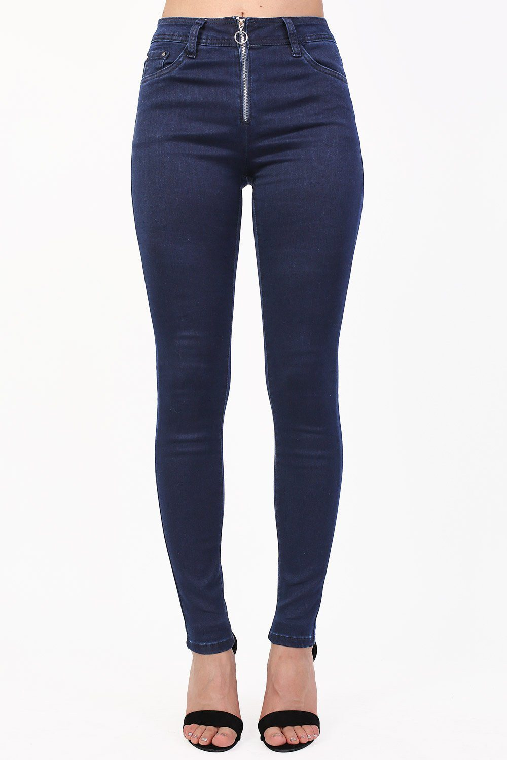 Plain Exposed Zip Skinny Jeans in Dark Denim 0