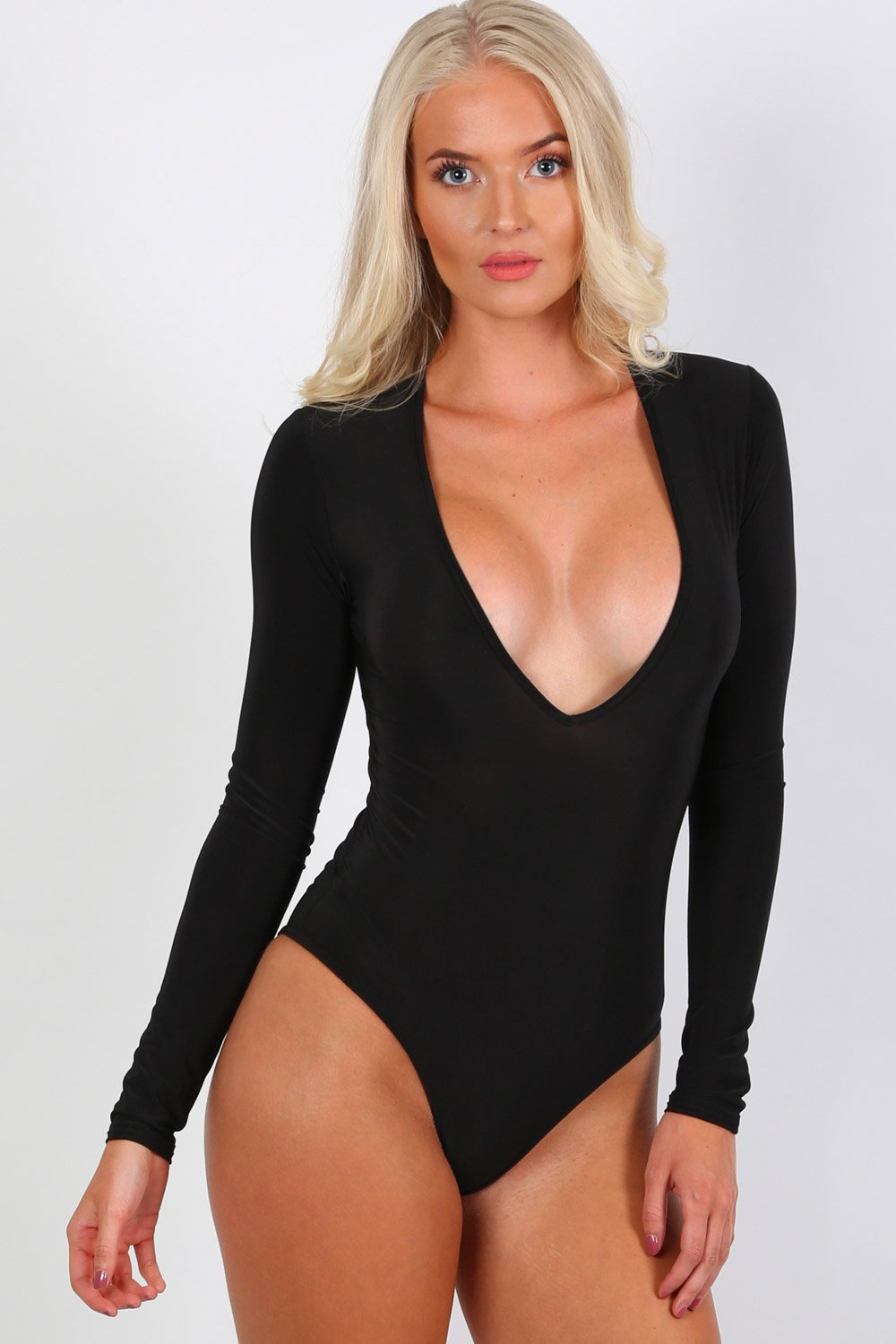 ec489b1257 Slinky Plunge V Neck Long Sleeve Bodysuit in Black – PilotLondon.com